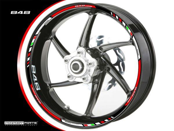 Rim edge sticker for Ducati 848 red-white-chrome