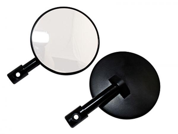 Miroir rond à barrettes noires Bras du miroir non réglable