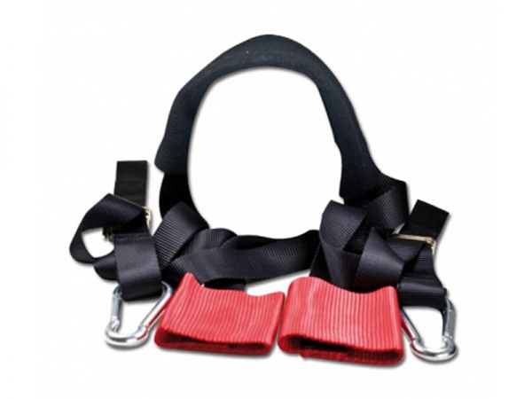 Handlebar fastening strap set - Nylon - red black - incl. lashing straps with carabiner - tensile strength 900Kg