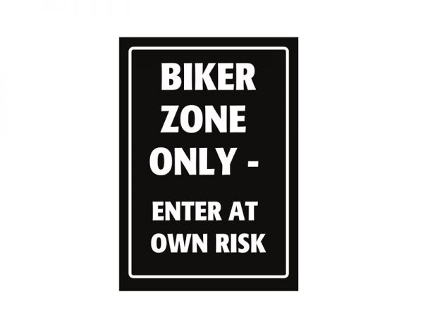 Sheet metal parking sign Biker Zone Only