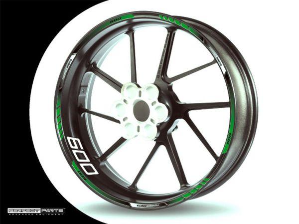 Rim edge sticker for 600 ccm green-white-black