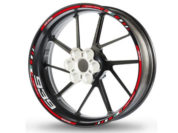 Rim edge sticker for Ducati Hypermotard Hyperstrada 939 red-white