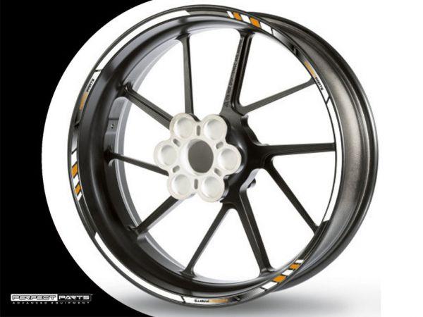 Rim edge sticker GP Race white-gold-black