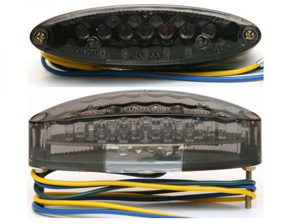 Rücklicht + Bremslicht Oval mit Kennzeichenbeleuchtung dunkel getönt