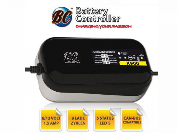 Battery charger BC K900 EDGE, 6+12 VoltCAN bus, charging current: 1A Battery capacity 1.2-100AH