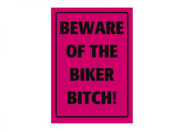 Parkschild aus Blech Beware of the Biker Bitch