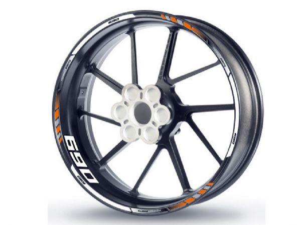 Felgenrandaufkleber für KTM 690 orange-weiß-schwarz