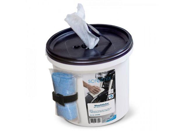 Waschtücher + Microfasertuch mit Aktiv-Sauerstoff - Waschen ohne Wasser