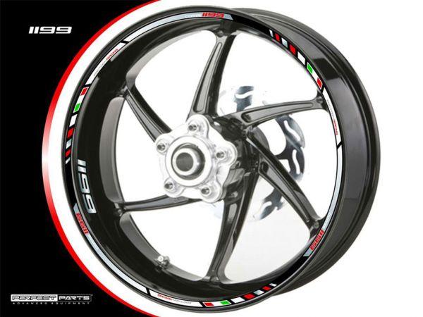 Felgenrandaufkleber für Ducati Panigale 1199 chrom-rot-weiß