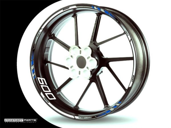 Rim edge sticker for 600 ccm blue-white-chrome