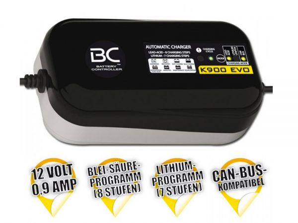 Battery charger BC K900 EVO 12V + CAN-Bus + LITHIUM 1,2 Ah to 100 Ah charging, up to 100Ah maintenance
