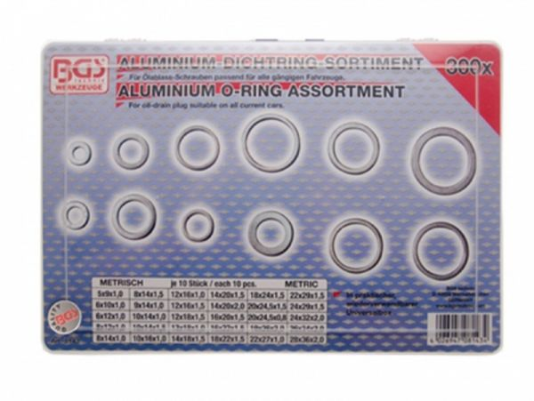 Aluminium sealing ring assortment - 300 pieces in 30 sizes of 10 each sorted in the assortment box