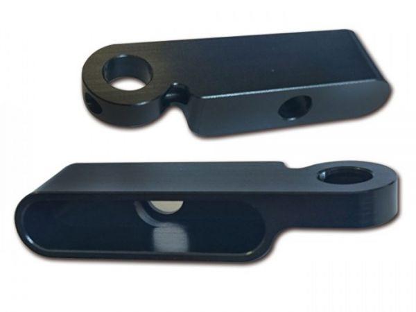 CNC Alu-Gehäuse für Einbaublinker Streak zur Montage unter den Lenkerarmaturen, schwarz, Paar