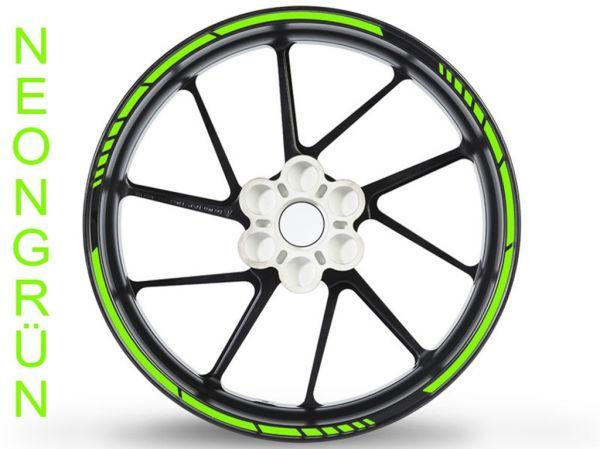 Felgenrandaufkleber GP Race Neonfarben neongrün