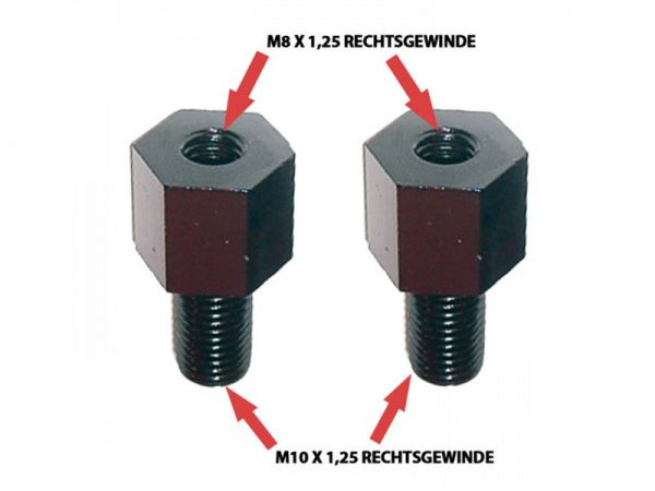 Mirror adapter right thread M8 to M10 x 1.25 black