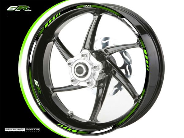Rim edge sticker for Kawasaki ZX-6R green-white-DARK