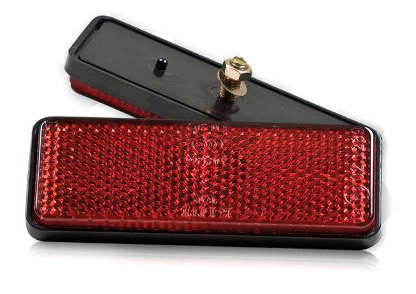 Reflektor 90x35x9 mm rechteckig rot mit Bolzen M5