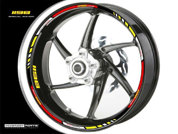 Rim edge sticker for Ducati 1198 red-white-yellow