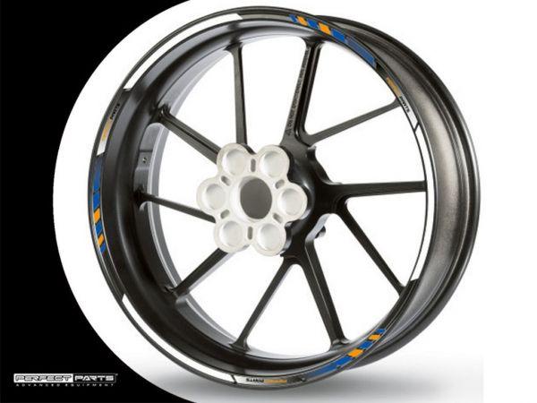 Adesivo bordo cerchio GP Race bianco-blu-oro