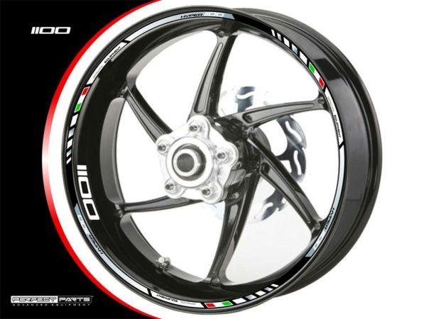 Rim edge sticker for Ducati Hypermotard 1100 chrome-white