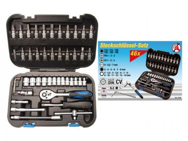 """Set di chiavi a bussola 6,3 ( 14\"""" ) 46 pezzi con scatola di plastica Inserti in 4-13 mm"""